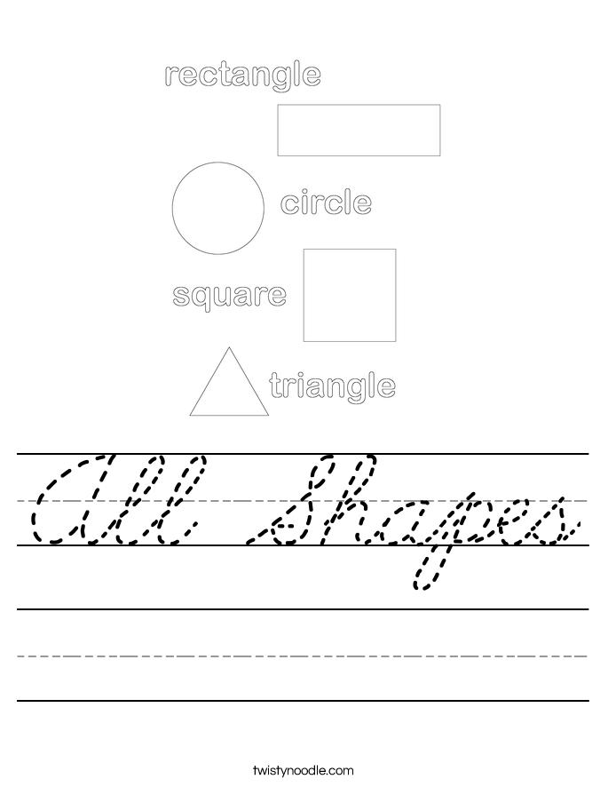 All Shapes Worksheet - Cursive - Twisty Noodle