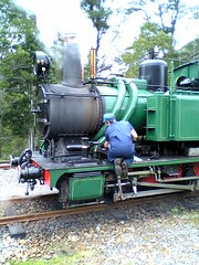 Driver checking the ABT Locomotive