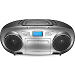 Insignia - AM/FM Radio Portable CD Boombox with Bluetooth - Silver/Black