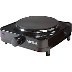 Aroma AHP-303 Single-Burner Portable Electric Range Hot Plate, Black
