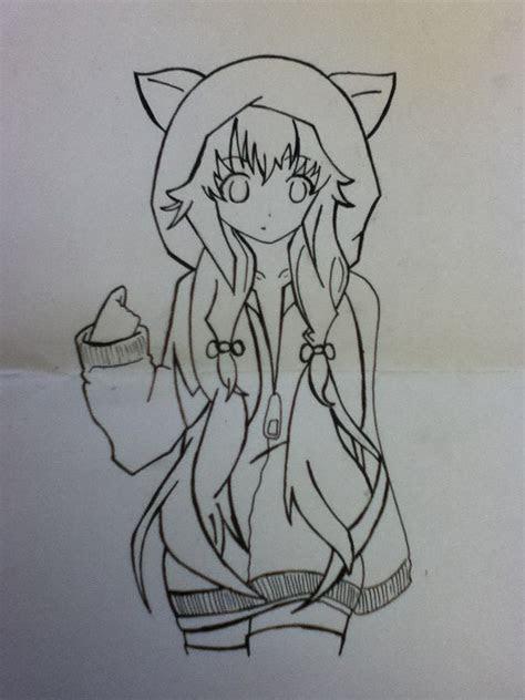 anime girl  hoodie  fox ears drawing pinterest