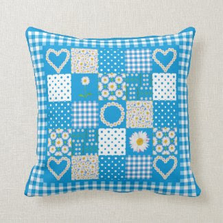 Pillow or Cushion, Daisy Chains Faux Patchwork