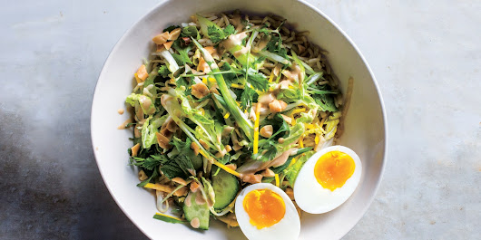 Crunchy Veg Bowl With Warm Peanut Sauce recipe | Epicurious.com