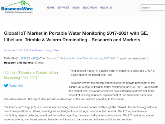 Valarm a.k.a. Monitors Industrial IoT Applications like Water Sensors – Market Research Firm Releases Industrial IoT Report about Global IoT Water Monitoring Market
