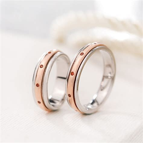 Silver Age Couples Rings, Rose Gold Spinner Rings Set with