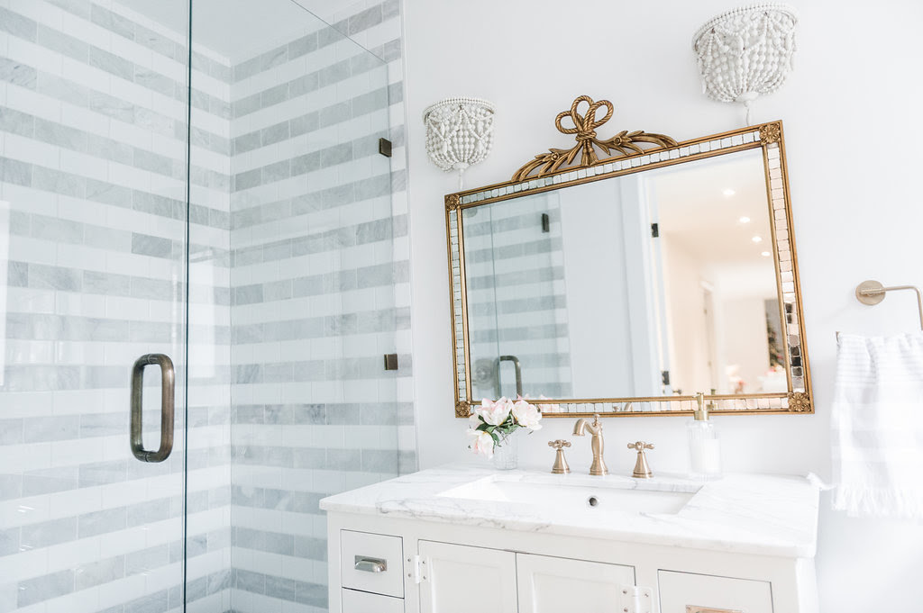 Striped Marble Bathroom Renovation Reveal - The Leslie Style
