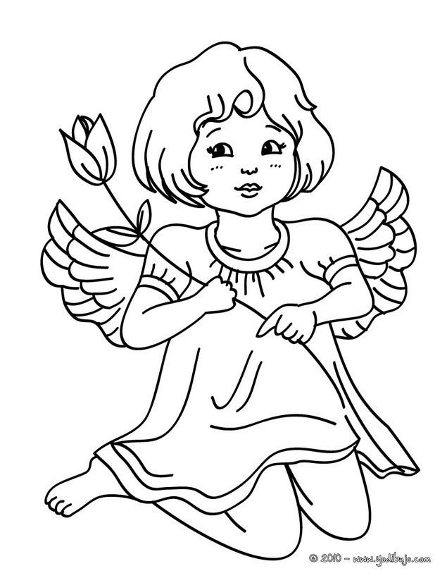 Dibujos Para Colorear Angel De Navidad Con Una Vela Eshellokidscom