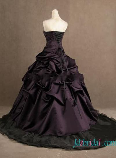 H1242 Gothic eggplant color with black ball gown wedding