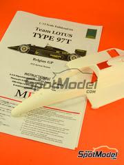 Maqueta de coche 1/12 Model Factory Hiro - Lotus Renault 97T John Player Special Nº 11, 12 - Elio de Angelis, Ayrton Senna - Gran Premio de Belgica 1985 - kit multimedia