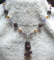 Purple Themed Wire Wrap Necklace