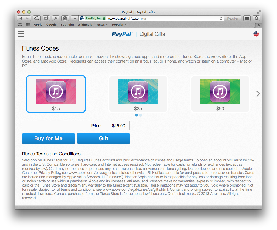 You can now buy iTunes vouchers through PayPal