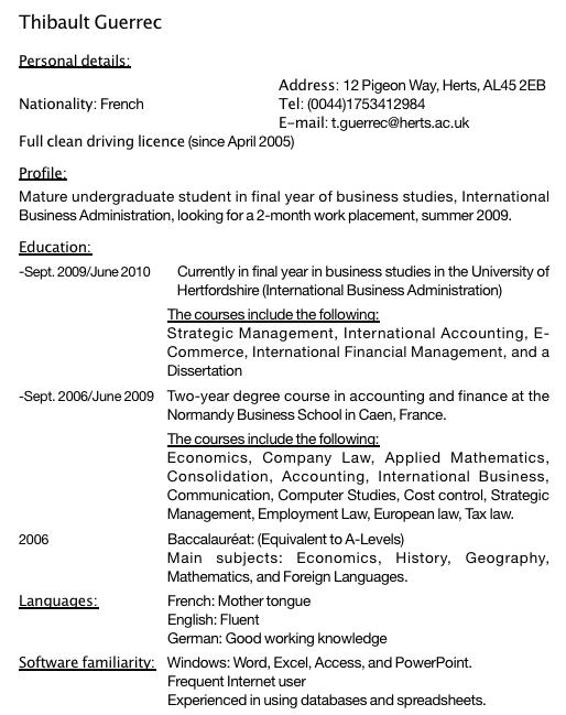 Exemple De Cv Pour Etudiant De 18 Ans