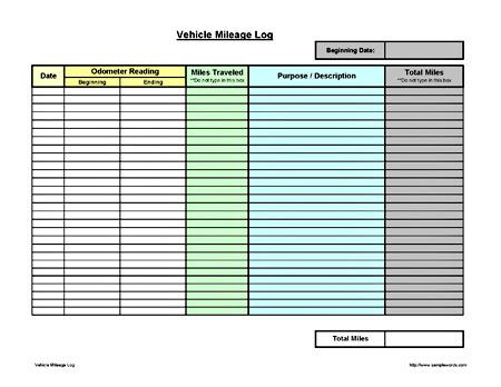 Vehicle Mileage Log - Expense Form - Free PDF Download