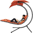 Best Choice Products Hanging Chaise Lounge Chair with Canopy, Orange