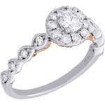 14K Two Tone Gold Round Solitaire Diamond Halo Braided Enagement Ring 0.75 Ct.