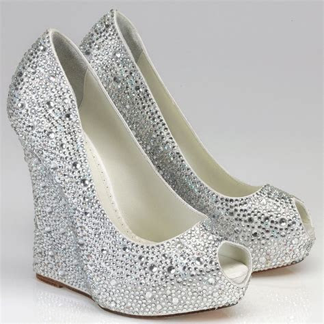 Silver Rhinestone Wedge Shoes   Above >> silver wedge