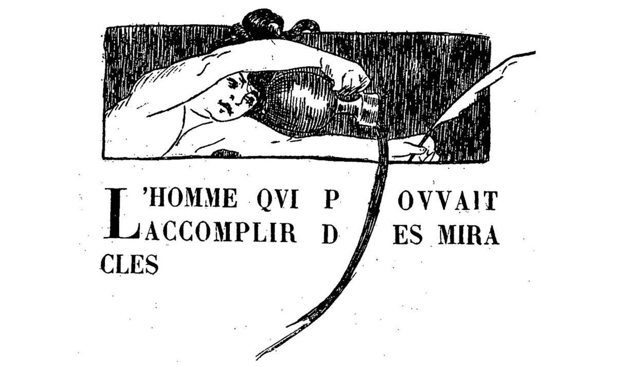 """Claire Demolder, vignette pour la revue """"Le Mercure de France"""", n°113, mai 1899, p.289, pour «L'Homme qui pouvait accomplir des miracles» de H.G. Wells."""