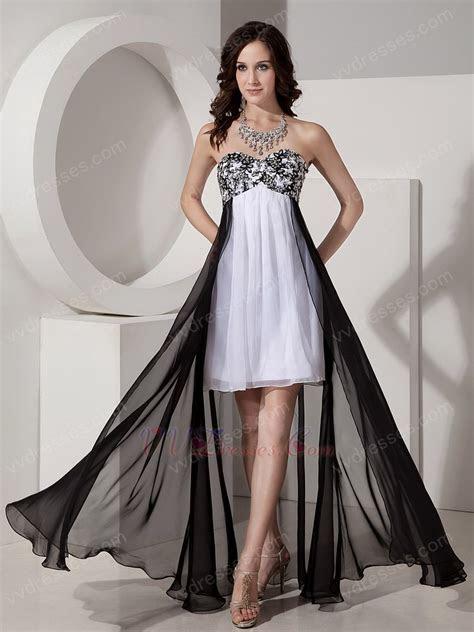 Black And White Short Front Long Back Skirt Prom Dress