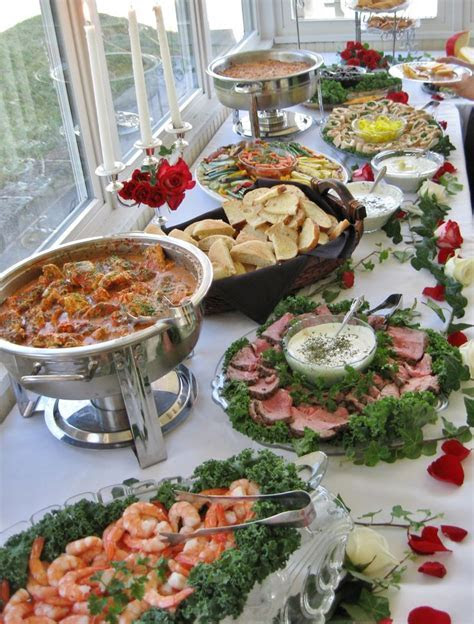 Another view of finger foods at a wedding recpetion we