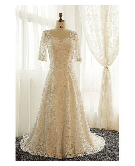 Best Plus Size Lace Wedding Dress With Sleeves Ivory Full