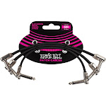 """Ernie Ball P06221 6"""" Flat Ribbon 1/4"""" TS Patch Cables - 3 Pack"""