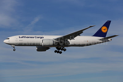 Lufthansa Cargo Boeing 777-FBT D-ALFA (msn 41674) LAX (James Helbock). Image: 921695.