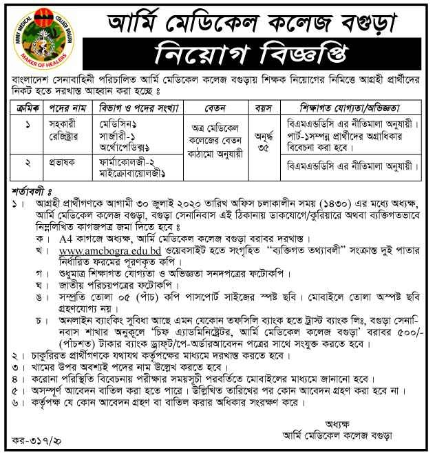 Army Medical College Job Circular 2020 | Apply Process