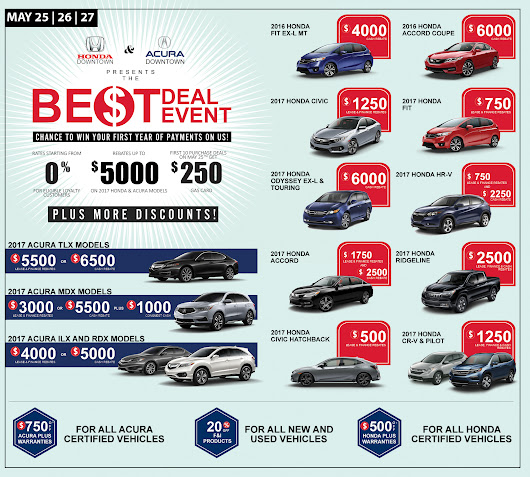 The Best Deal Event | May 25, 26, 27 - Honda Downtown