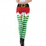 Electronics (Medium, Green_b) - WOCACHI Christmas Womens Leggings Xmas Bell Striped High-Waist Skinny Yoga Pants