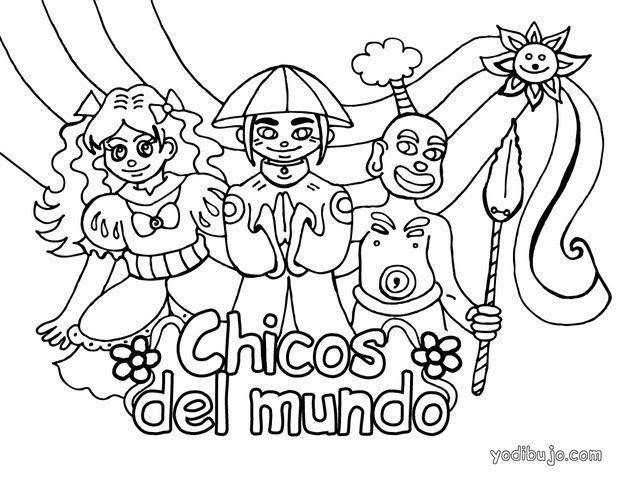 Dibujos Para Colorear Niños Del Mundo Eshellokidscom