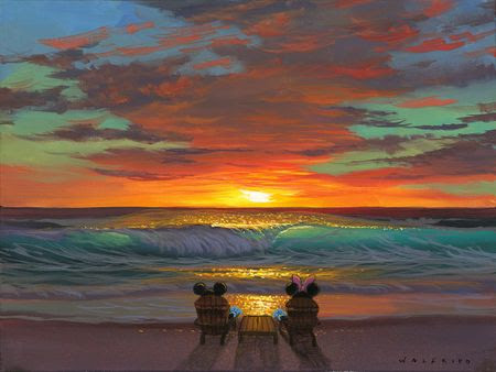 "Walfrido Garcia Hand-Embellished Giclée on Canvas:""Sharing a Sunset"" - New Arrivals"