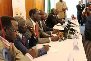 Former SPLM officials who were held in detention hold press conference in Addis Ababa, Ethiopia amid peace talks. The ruling party is deeply split. by Pan-African News Wire File Photos