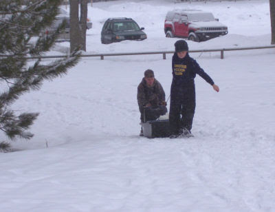 bringing supplies by sled