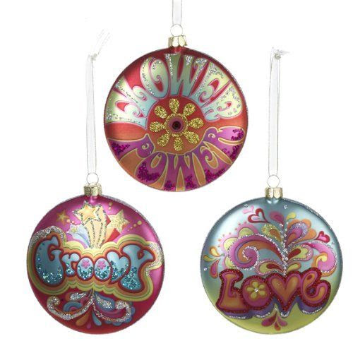 "Amazon.com: Glass Hippie Disc Ornament - 3 Assorted: ""Flower Power"", ""Groovy"" and ""Love"": Home & Kitchen"