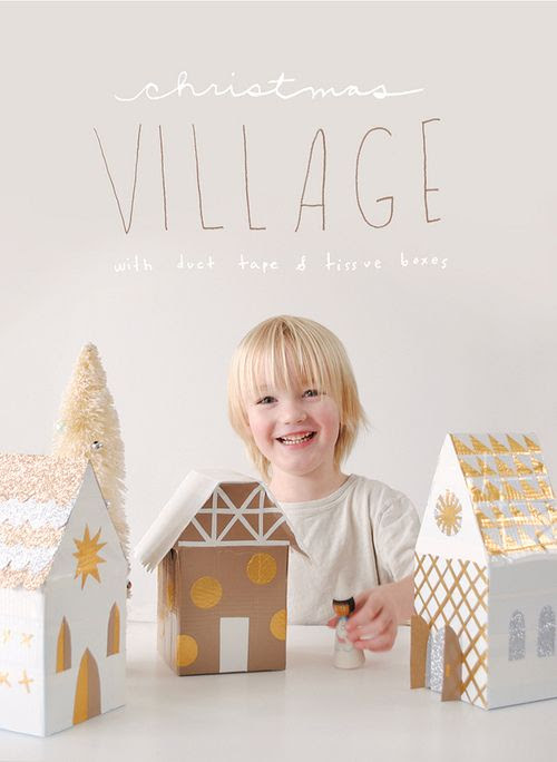 DIY Cardboard Duct Tape Winter Village Tutorial from Mer Mag here.For a similar DIY making a horse stable go here.