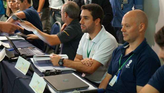 Tiago Paes e Chris Unger, representantes do COL e da Fifa (Foto: Augusto Gomes)