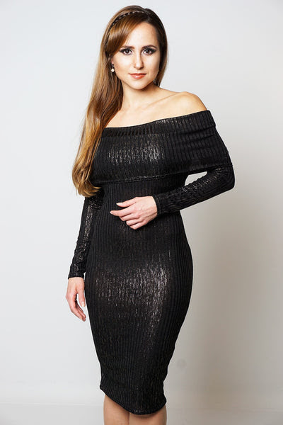 Ribbed Foil Shimmer Bardot Long Sleeved Party Dress