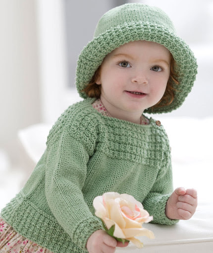 Free knitting pattern for Baby Boatneck Sweater and Matching Sun Hat