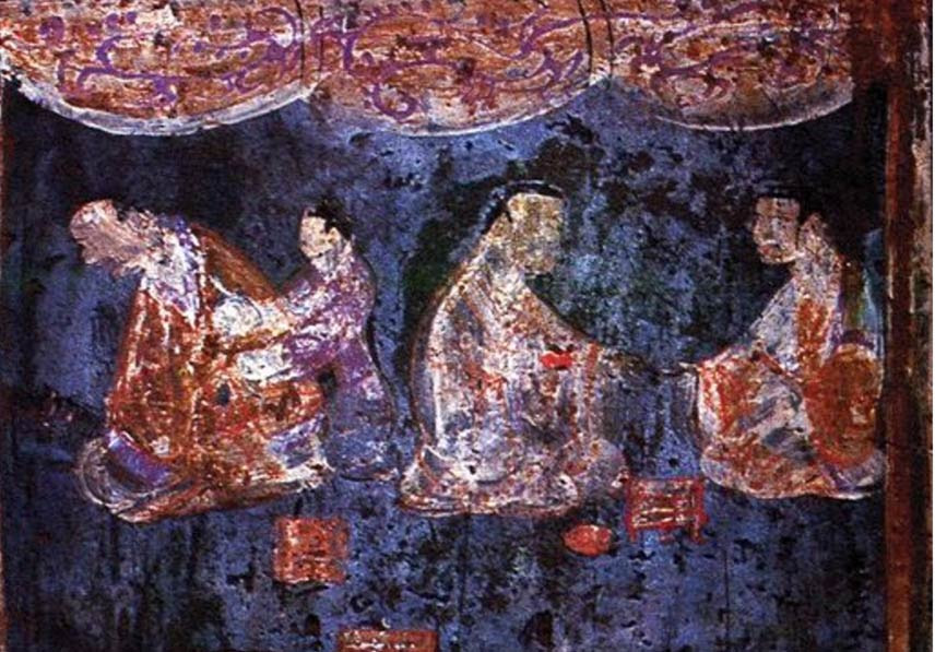 Detail of a mural from an Eastern Han tomb with artificial pigment