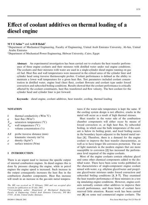 (PDF) Effect of Coolant Additives on Thermal Loading of