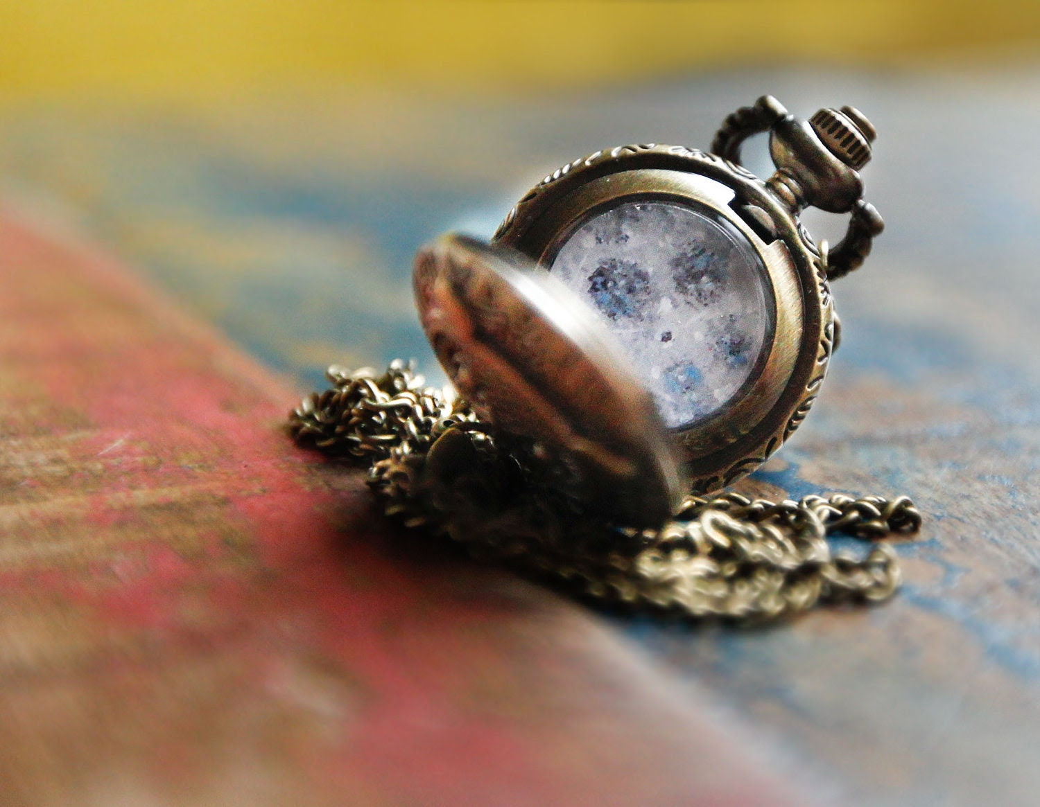 MOON LOCKET Owl Pendant,Pocket Watch,Antique Brass Pendant Necklace From Art Print