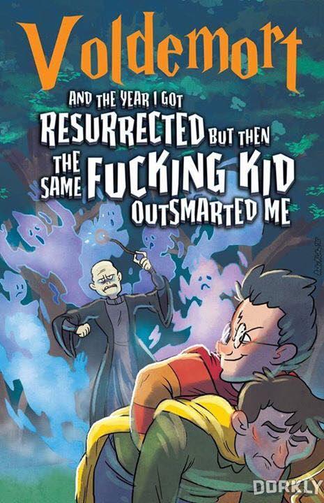 """Tradução livre: """"Voldemort - E o ano em que eu fui ressuscitado, mas aquele mesmo fucking garoto foi mais esperto que eu"""""""