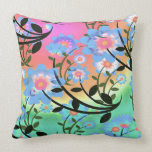 Pretty Abstract Multicolored Flowers Blue Throw Pillows