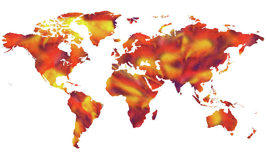 World On Fire Watercolor Map by Irina Sztukowski