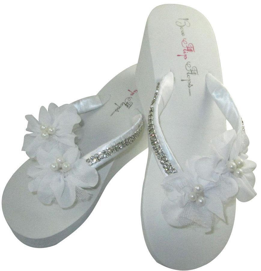BEACH Rhinestone Bridal flip Flops Wedges.Wedding Flip Flops.Ivory Pearl Starfish Bridal Shoes.Bridesmaid Flip Flops.Wedding Flip Flops.