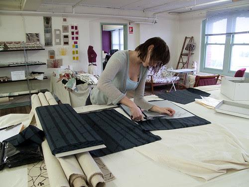 me cutting fabrics
