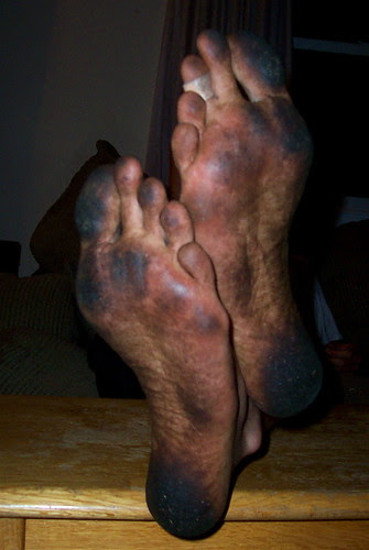 The feet of an Ultimate Frisbee player