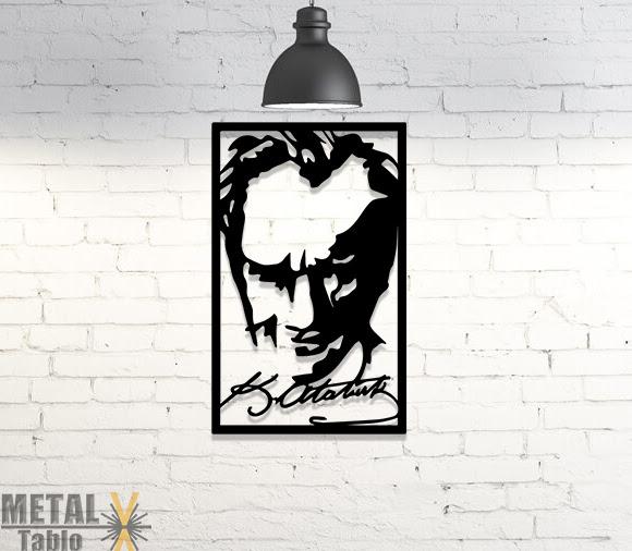 Atatürk Portre Ve Imzası Metal Lazer Kesim Dekorasyon Metal Tablo