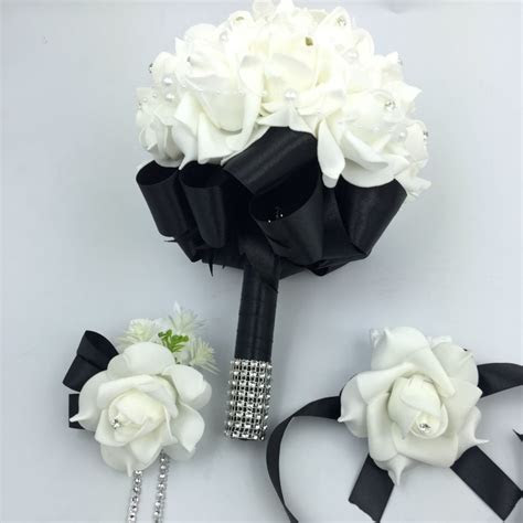 3 pcs Black Bridal Bridesmais Rose Flowers holder Wedding