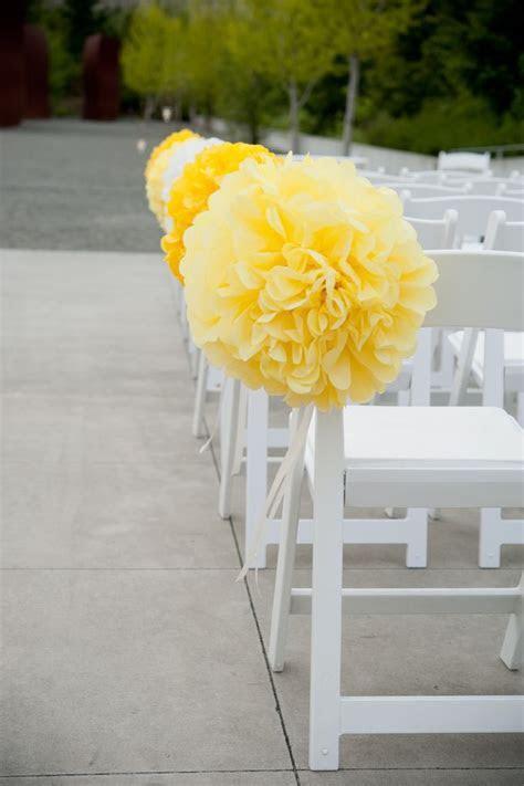 Yellow Poms Ceremony Aisle Decor. Wedding Planning and
